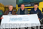 BUILD 4 LIFE: Tony Nolan of Garryowen Transport, Tralee presenting a cheque to Joe Browne Build 4 Life Cystic Fibrosis with monies raised from the Scania Ring of Kerry Truck Run 2010 at the Garryowen Transport yard, Tralee on Friday l-r: Tony Nolan, Joe Browne and Ger Culloty.