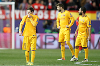 FC Barcelona's Leo Messi, Gerard Pique and Arda Turan dejected during Champions League 2015/2016 Quarter-Finals 2nd leg match. April 13,2016. (ALTERPHOTOS/Acero) <br /> Madrid 13/4/2016 Vicente Calderon <br /> Football Calcio 2015/2016<br /> Champions League Quarti di finale <br /> Atletico Madrid - Barcellona <br /> Foto Alterphotos / Insidefoto <br /> ITALY ONLY