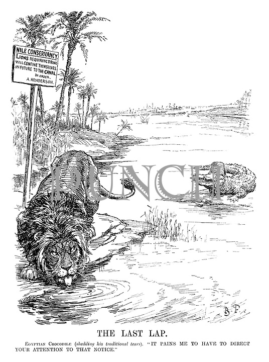 """The Last Lap. Egyptian Crocodile (shedding his traditional tears). """"It pains me to have to direct your attention to that notice."""" [notice with Nile Conservancy - LIONS requiring drink will confine themselves in future to the CANAL by order, A. Henderson]"""