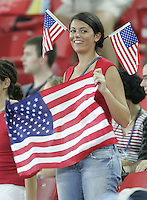 26 August 2004: USA Fan celebrate USA team during the Gold Medal game against Brazil at Karaiskaki Stadium in Athens, Greece.   USA defeated Brazil, 2-1 in overtime.   Credit: Michael Pimentel / ISI.