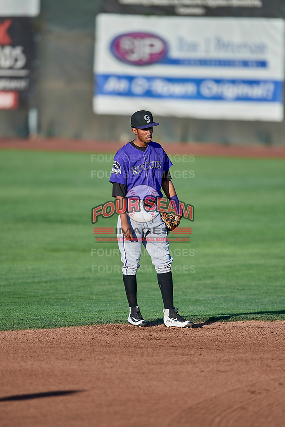 Cristopher Navarro (7) of the Grand Junction Rockies on defense during a game against the Ogden Raptors at Lindquist Field on September 7, 2018 in Ogden, Utah. The Rockies defeated the Raptors 8-5. (Stephen Smith/Four Seam Images)
