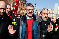 Maurizio Landini<br /> Rome February 9th 2019. Demonstration of the three Italian trade unions, CGIL, CISL, UIL.<br /> Foto Samantha Zucchi Insidefoto
