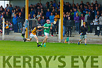 Andrew Murphy of Ballyduff been challenged by Abbeydorney's Jack Hannon in the U16 Co Hurling Championship Final in Lerrig on Sunday