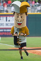 "Charlotte Knights Royalty Racer ""Jerry the Jester"" wins the race between innings of the International League game between the Pawtucket Red Sox and the Charlotte Knights at BB&T Ballpark on August 8, 2014 in Charlotte, North Carolina.  The Red Sox defeated the Knights  11-8.  (Brian Westerholt/Four Seam Images)"