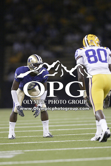 Sep 05, 2009:  Washington freshman Desmond Trufant sets up against LSU wide receiver #80 Terrance Toliver.  LSU defeated the University of Washington 31-23 at Husky Stadium in Seattle, Washington..