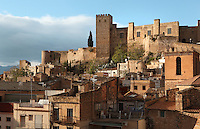 The Castle of Sant Joan or La Suda in the old town or Casc Antic of Tortosa, Tarragona, Spain. The 10th century Castle of Sant Joan was built by Muslim Caliph Abd ar-Rahman III. It was conquered in 1148 and became residence of the Montcada and Knights Templar, then a royal mansion from the 13th century. Tortosa is an ancient town situated on the Ebro Delta which has a rich heritage dating from Roman times. Picture by Manuel Cohen