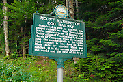 Mount Washington Cog Railway sign on the Base Road in the White Mountains of New Hampshire.