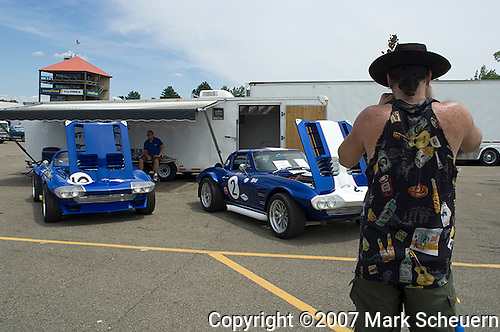 A Corvette fan at the SVRA Vintage Grand Prix of Mid-Ohio, 2007.