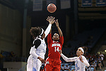 23 March 2015: Ohio State's Ameryst Alston (14) shoots over North Carolina's Stephanie Mavunga (left). The University of North Carolina Tar Heels hosted the Ohio State University Buckeyes at Carmichael Arena in Chapel Hill, North Carolina in a 2014-15 NCAA Division I Women's Basketball Tournament second round game. UNC won the game 86-84.
