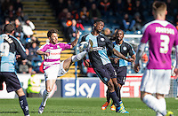 Luke Gambin of Barnet & Anthony Stewart of Wycombe Wanderers in action during the Sky Bet League 2 match between Wycombe Wanderers and Barnet at Adams Park, High Wycombe, England on 16 April 2016. Photo by Andy Rowland.