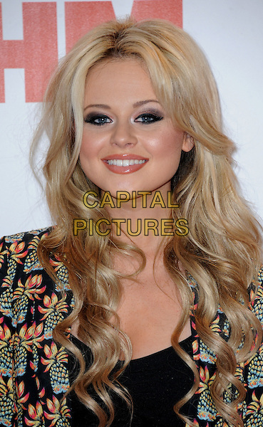 Emily Atack.Arrivals at the FHM 100 Sexiest Women in the World 2012 Party held at the Proud Cabaret, London, England..May 1st, 2012.headshot portrait black blue print pineapple fruit.CAP/WIZ.© Wizard/Capital Pictures.