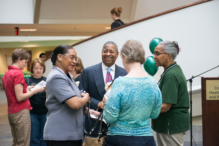 Ohio University President and First Lady greet members University employees at a lunch to celebrate the 25 Anniversary of the Classified Senate in Grover. Photo by Ben Siegel/ Ohio University