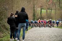 peloton up the cobbled Mont-Saint Laurent<br /> <br /> 72nd Kuurne-Brussel-Kuurne 2020 (1.Pro)<br /> Kuurne to Kuurne (BEL): 201km<br /> <br /> ©kramon
