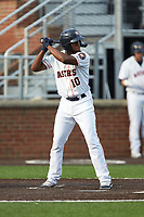 Bryan De La Cruz (10) of the Buies Creek Astros at bat against the Winston-Salem Dash at Jim Perry Stadium on August 15, 2018 in Buies Creek, North Carolina.  The Astros defeated the Dash 5-0.  (Brian Westerholt/Four Seam Images)