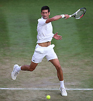 Novak Djokovic (SRB) during his match against Karen Khachanov (RUS) in their Men's Singles Fourth Round match<br /> <br /> Photographer Rob Newell/CameraSport<br /> <br /> Wimbledon Lawn Tennis Championships - Day 6 - Saturday 7th July 2018 -  All England Lawn Tennis and Croquet Club - Wimbledon - London - England<br /> <br /> World Copyright &Acirc;&copy; 2017 CameraSport. All rights reserved. 43 Linden Ave. Countesthorpe. Leicester. England. LE8 5PG - Tel: +44 (0) 116 277 4147 - admin@camerasport.com - www.camerasport.com