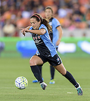 Danielle Colaprico (24) of the Chicago Red Stars races for the goal in the first half against the Houston Dash on Saturday, April 16, 2016 at BBVA Compass Stadium in Houston Texas.