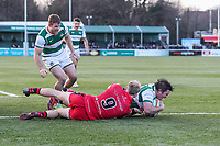 Alun WALKER of Ealing Trailfinders scores his team's first try during the Greene King IPA Championship match between Ealing Trailfinders and Jersey Reds at Castle Bar , West Ealing , England  on 22 December 2018. Photo by David Horn.