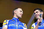 Matteo Trentin (ITA) and Jack Bauer (NZL) Quick-Step Floors team on stage at the Team Presentation in Burgplatz Dusseldorf before the 104th edition of the Tour de France 2017, Dusseldorf, Germany. 29th June 2017.<br /> Picture: Eoin Clarke | Cyclefile<br /> <br /> <br /> All photos usage must carry mandatory copyright credit (&copy; Cyclefile | Eoin Clarke)