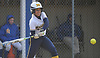 Alexa Kanceler #13, Massapequa right fielder, strokes a two-run single in the top of the sixth inning to give the Chiefs a 4-3 lead in a Nassau County AA-1 varsity softball game against host East Meadow on Wednesday, April 11, 2018. Massapequa never relinquished the lead afterward after won by a score of 8-4.