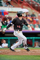 Erie SeaWolves third baseman Kody Eaves (24) flies out during a game against the New Hampshire Fisher Cats on June 20, 2018 at UPMC Park in Erie, Pennsylvania.  New Hampshire defeated Erie 10-9.  (Mike Janes/Four Seam Images)