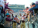 The Seminoles leave the field after dismantling 3rd ranked Michigan 51-31 in front of 106,000 Wolverine fans Sept 28, 1991. Going into the season ranked #1, the Seminoles finished #4 after  back to back late season losses to Miami (wide right 1) and the Florida Gators before beating #9 Texas A&M in the Cotton Bowl.
