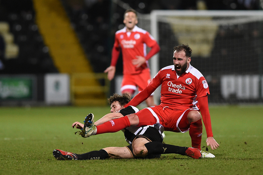 Notts County's Matty Virtue tackles Crawley's Josh Payne <br /> <br /> Photographer Jon Hobley/CameraSport<br /> <br /> The EFL Sky Bet League Two - Notts County v Crawley Town - Tuesday 23rd January 2018 - Meadow Lane - Nottingham<br /> <br /> World Copyright &copy; 2018 CameraSport. All rights reserved. 43 Linden Ave. Countesthorpe. Leicester. England. LE8 5PG - Tel: +44 (0) 116 277 4147 - admin@camerasport.com - www.camerasport.com