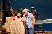 "Loretta Ables Sayre as Bloody Mary and Alex Ferns as Luther Billis. Ex-Eastenders Actress Samantha Womack stars as Nellie Forbush in the Rogers and Hammerstein musical ""South Pacific"", running at the Barbican Theatre, London."