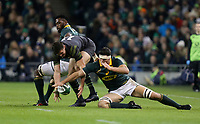 Saturday 11th November 2017; Ireland vs South Africa<br /> Jacob Stockdale and Francois Louw during the Guinness Autumn Series between Ireland and South Africa at the Aviva Stadium, Lansdowne Road, Dublin, Ireland.  Photo by DICKSONDIGITAL