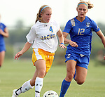 BROOKINGS, SD - AUGUST 22: Shelby Raper #4 from South Dakota State controls the ball past Angela Benson #12 from Creighton in the first half of their game Friday night in Brookings. (Photo by Dave Eggen/Inertia)