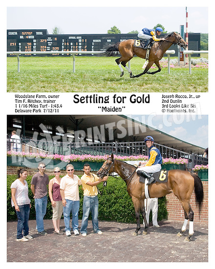 Settling for Gold winning at Delaware Park on 7/12/11