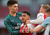 16/04/2018 Arsenal v Blackpool FAYC Semi 2L<br /> <br /> Dominic Thompson and Jack Newton altercation