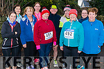 l-r Jennifer Kislosky from Tralee, Anne Lynch from Beaufort, Joan Carmody from Beaufort, Elizabeth Switzer from Beaufort, Marie and James Tobin from Beaufort,  Andrea O'Donoghue from Beaufort, Majella Floyd from Beaufort, Emma Shanahan from Kilflynn and Margaret Lenihan from Tralee pictured at Charles O'Shea Memorial 5km and 10km Run in the Beaufort on New Year morning.