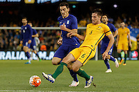 June 7, 2016: MILOS DEGENEK (6) of Australia kicks the ball during an international friendly match between the Australian Socceroos and Greece at Etihad Stadium, Melbourne. Photo Sydney Low