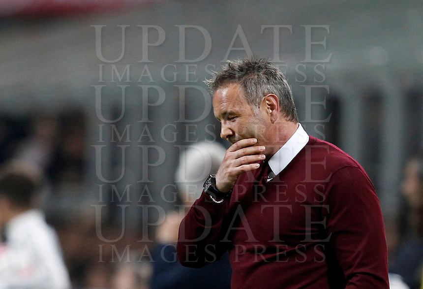 Calcio, Serie A: Milan vs Juventus. Milano, stadio San Siro, 9 aprile 2016. <br /> AC Milan&rsquo;s coach Sinisa Mihajlovic reacts during the Italian Serie A football match between AC Milan and Juventus at Milan's San Siro stadium, 9 April 2016.<br /> UPDATE IMAGES PRESS/Isabella Bonotto