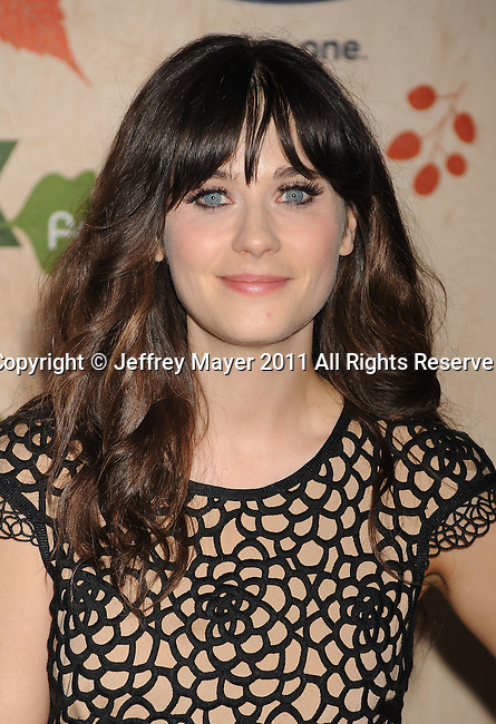 """CULVER CITY, CA - SEPTEMBER 12: Zooey Deschanel attends the """"FOX Fall Eco-Casino Party"""" at Book Bindery on September 12, 2011 in Culver City, California."""