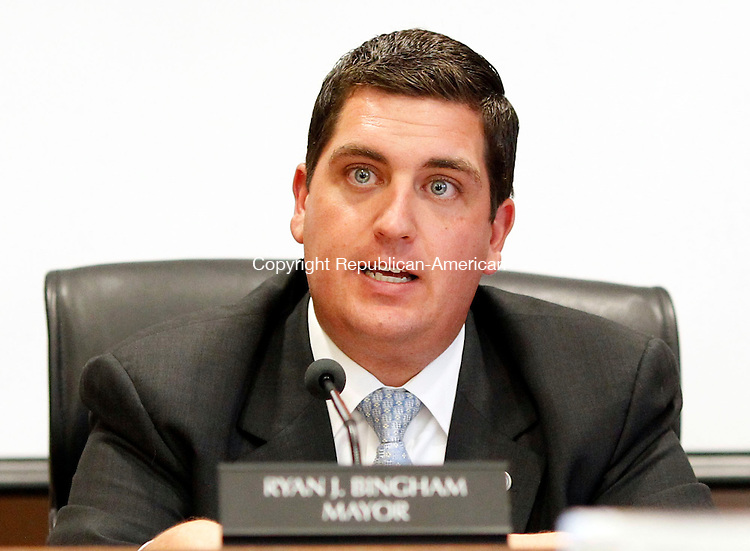 Torrington, CT- 09 May 2013-050913CM05- Torrington Mayor Ryan J. Bingham addresses members of the Board of Finance and the public during a budget at City Hall in Torrington Thursday night.    Christopher Massa Republican-American
