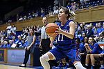 DURHAM, NC - NOVEMBER 26: Presbyterian's Kacie Hall. The Duke University Blue Devils hosted the Presbyterian College Blue Hose on November 26, 2017 at Cameron Indoor Stadium in Durham, NC in a Division I women's college basketball game. Duke won the game 79-45.