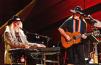 "Leon Russell and Willie Nelson performing during ""Willie Nelson & Friends Live and Kickin'"" at the Beacon Theatre in New York City April 9, 2003 Credit: David Atlas/MediaPunch"
