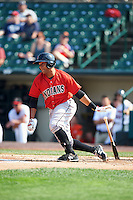 Indianapolis Indians designated hitter Elias Diaz (29) at bat during a game against the Rochester Red Wings on June 10, 2015 at Frontier Field in Rochester, New York.  Indianapolis defeated Rochester 5-3.  (Mike Janes/Four Seam Images)
