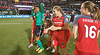 Portland, OR - Saturday May 27, 2017: Adrianna Franch, Kendall Johnson, Mallory Weber, Emily Sonnett laugh during a regular season National Women's Soccer League (NWSL) match between the Portland Thorns FC and the Boston Breakers at Providence Park.