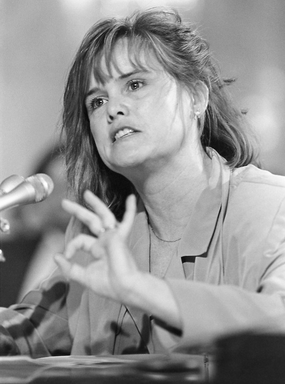 Katherin A Meyer, counsel for Petitions, argues about the Packwood allegation before the Senate Rules Committee. May 13, 1993 (Photo by Laura Patterson/CQ Roll Call)