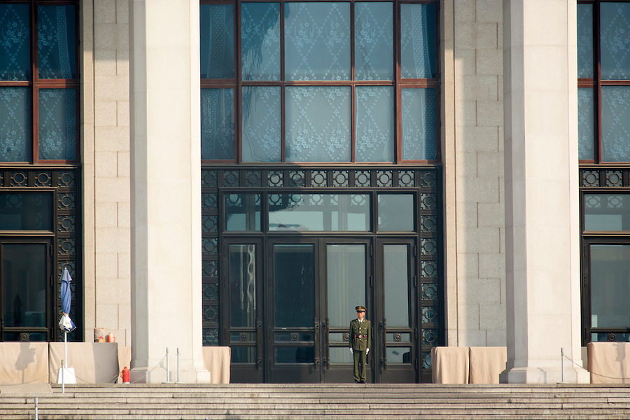 Soldier standing guard at Mausoleum of Mao Zedong, Beijing, China, Asia