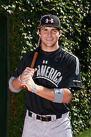Outfielder Michael Gettys (33) of Gainesville High School in Gainesville, Florida poses for a photo before the Under Armour All-American Game on August 24, 2013 at Wrigley Field in Chicago, Illinois.  (Mike Janes/Four Seam Images)