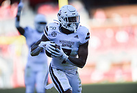 NWA Democrat-Gazette/CHARLIE KAIJO Mississippi State safety Marcus Murphy (7) intercepts a pass for a pick-six, Saturday, November 2, 2019 during the second quarter of a football game at Donald W. Reynolds Razorback Stadium in Fayetteville. Visit nwadg.com/photos to see more photographs from the game.