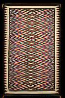 Woven rug, 1988, made from wool and dye, by the Navajo artist Mamie P Begay, b. 1949, from the collection of the Denver Art Museum, Denver, Colorado, USA. Picture by Manuel Cohen