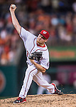 25 August 2016: Washington Nationals pitcher Mark Melancon closes out the game against the Baltimore Orioles at Nationals Park in Washington, DC. The Nationals blanked the Orioles 4-0 to salvage one game of their 4-game home and away series. Mandatory Credit: Ed Wolfstein Photo *** RAW (NEF) Image File Available ***