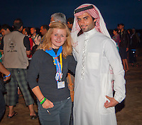 A girl from Czech Republic standing close to a boy from Middle East during Ramadan celebration. Photo: André Jörg/ Scouterna