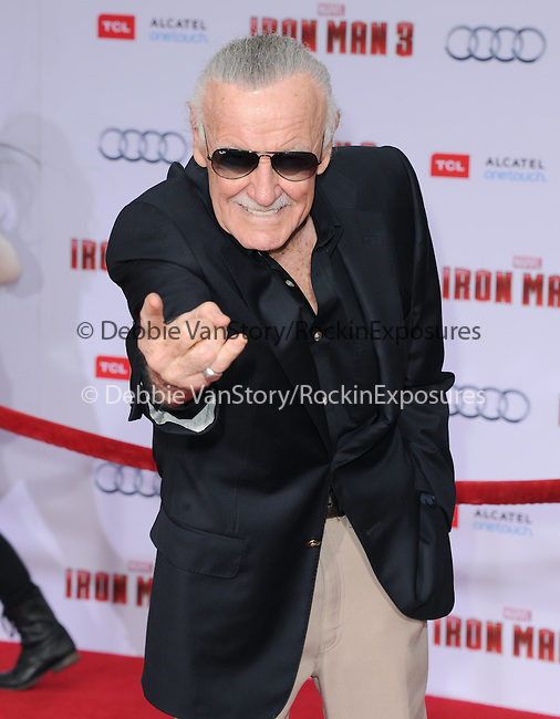 Stan Lee at The World Premiere of Marvel's Iron Man 3 held at The El CapitanTheatre in Hollywood, California on April 24,2013                                                                   Copyright 2013 Hollywood Press Agency