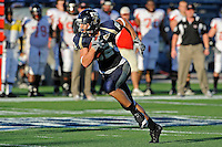 27 November 2010:  FIU wide receiver Greg Ellingson (82) breaks into the ASU secondary after a reception in the second quarter as the FIU Golden Panthers defeated the Arkansas State Red Wolves, 31-24, at FIU Stadium in Miami, Florida.