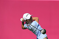 Carlota Ciganda (ESP) tees off the 1st tee during Thursday's Round 1 of The Evian Championship 2018, held at the Evian Resort Golf Club, Evian-les-Bains, France. 13th September 2018.<br /> Picture: Eoin Clarke | Golffile<br /> <br /> <br /> All photos usage must carry mandatory copyright credit (© Golffile | Eoin Clarke)